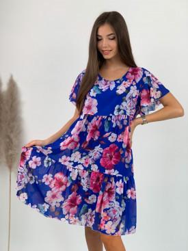 Šaty pod kolená kvety 21128