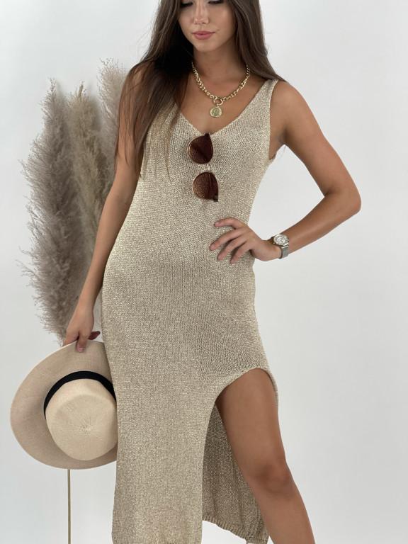 Šaty pletené na ramienka Selena 9767