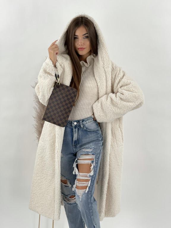 Kabát Teddy s kapucňou maslový 8366