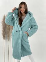 Kabát Teddy s kapucňou mentolový 8366
