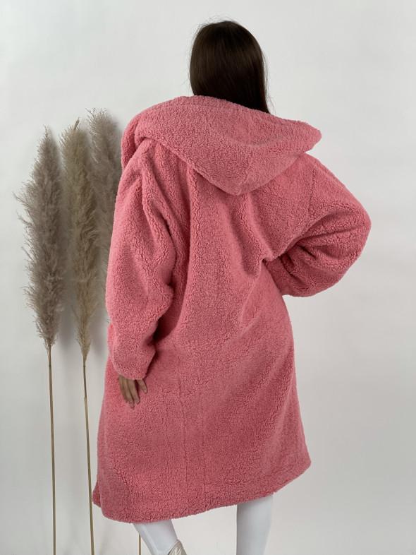 Kabát Teddy s kapucňou ružový 8366