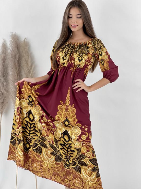 Šaty dlhé na ramená GOLDEN FLOWERS 889