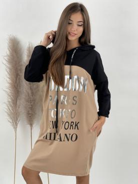 Šaty teplákové s kapucňou LONDON
