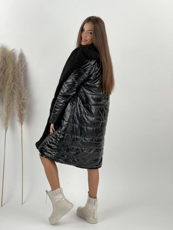 Kabát / bunda obojstranná čierna 8263