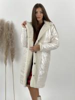 Kabát / bunda obojstranná béžová 8263