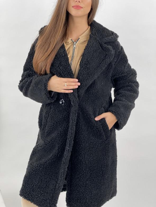 Kabát po kolená Teddy čierny 65240