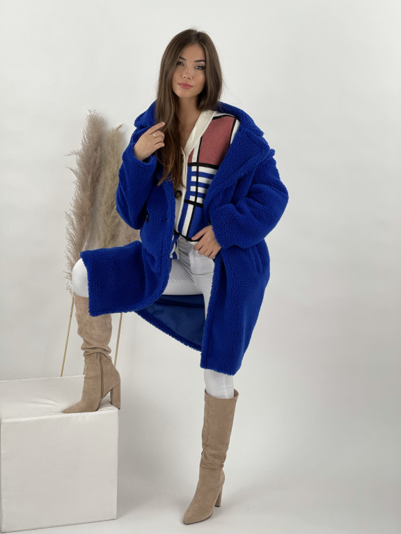 Kabát po kolená Teddy modrý 65240