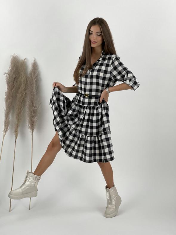 Šaty kárované s opaskom Rock 10485