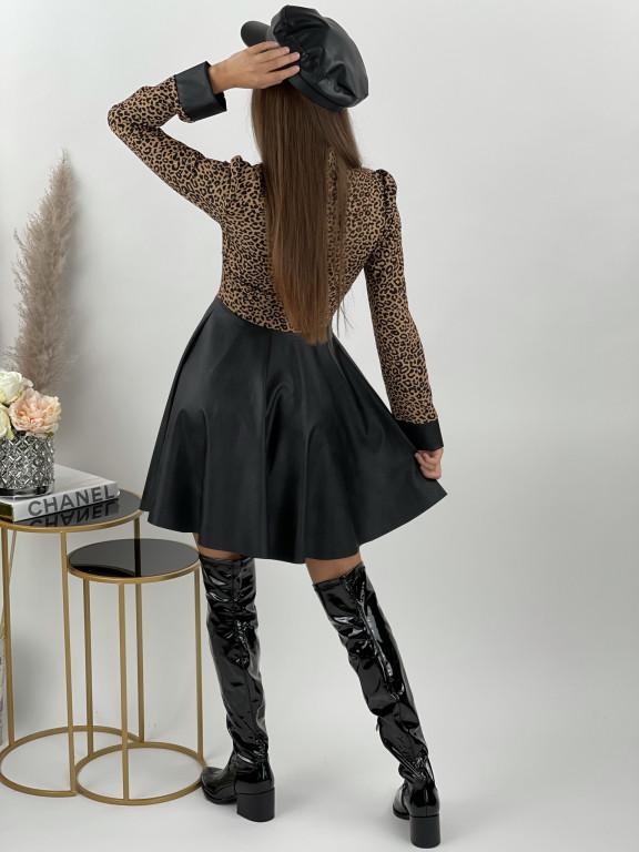 Šaty na zips s koženkou LEOPARD 7890