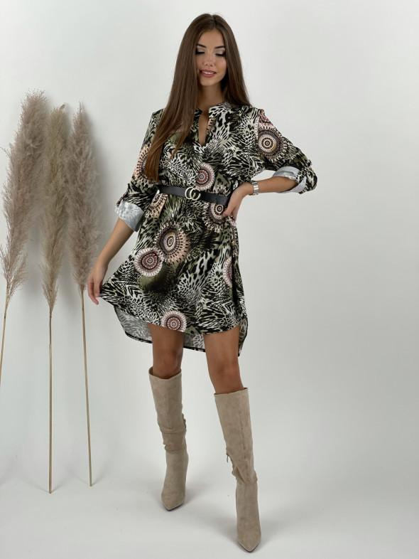 Šaty nad kolená s opaskom Cheetah Soul 8683