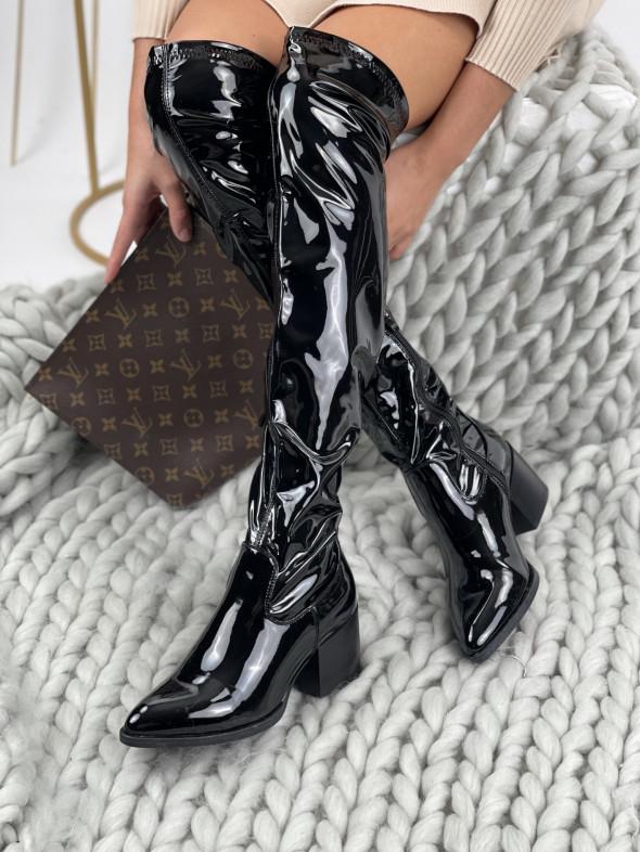 Topánky vysoké lesklé Lolo RB35 čierne