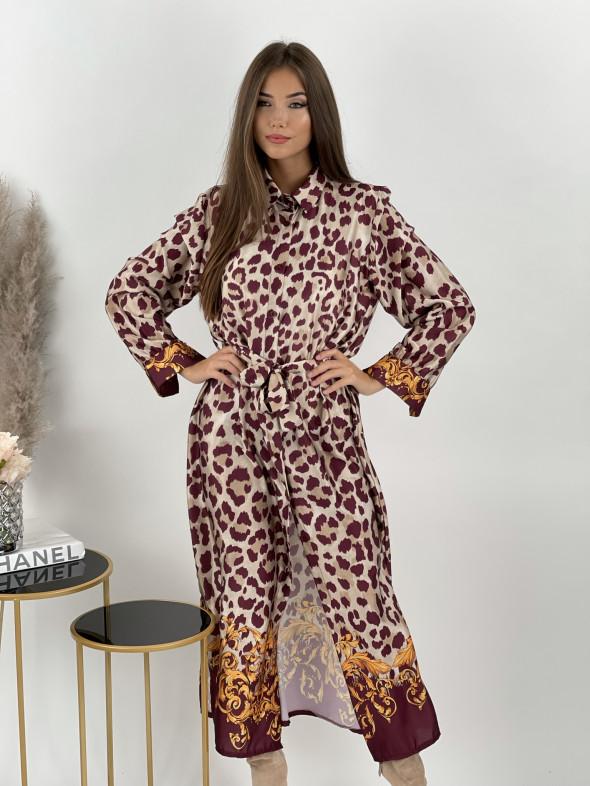 Šaty leopardie na gombíky ELSA 8042