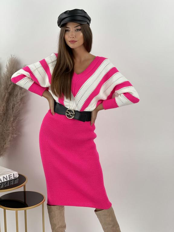Šaty svetrové s véčkovým výstrihom MELINDA