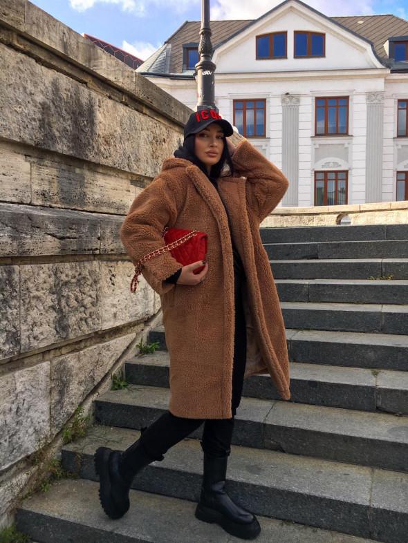 Kabát dlhý TEDDY 8279 hnedá