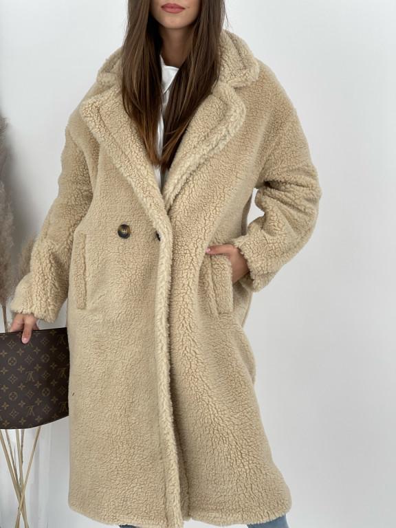 Kabát jednofarebný pod kolená Teddy 19218 béžový