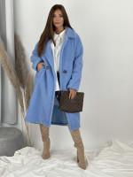 Kabát jednofarebný pod kolená Teddy 19218 bledomodrý