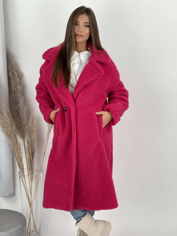 Kabát jednofarebný pod kolená Teddy 19218 tmavoružový