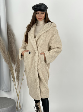 Kabát Teddy s kapucňou béžový 8366