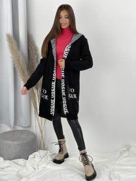 Kardigan svetrový s nápisom VOGY