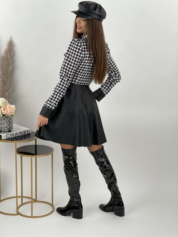 Šaty na zips s koženkou PEPITO 7890