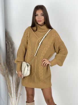 Šaty svetrové s golierom LOOP